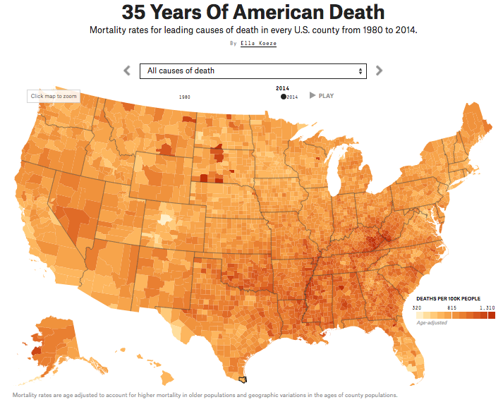 A few weeks ago we talked about mortality wars. So I felt I had to include this interactive project from FiveThirtyEight that allows you to view the changing causes of death in every American county for the last 35 years. Source:  Five Thirty Eight