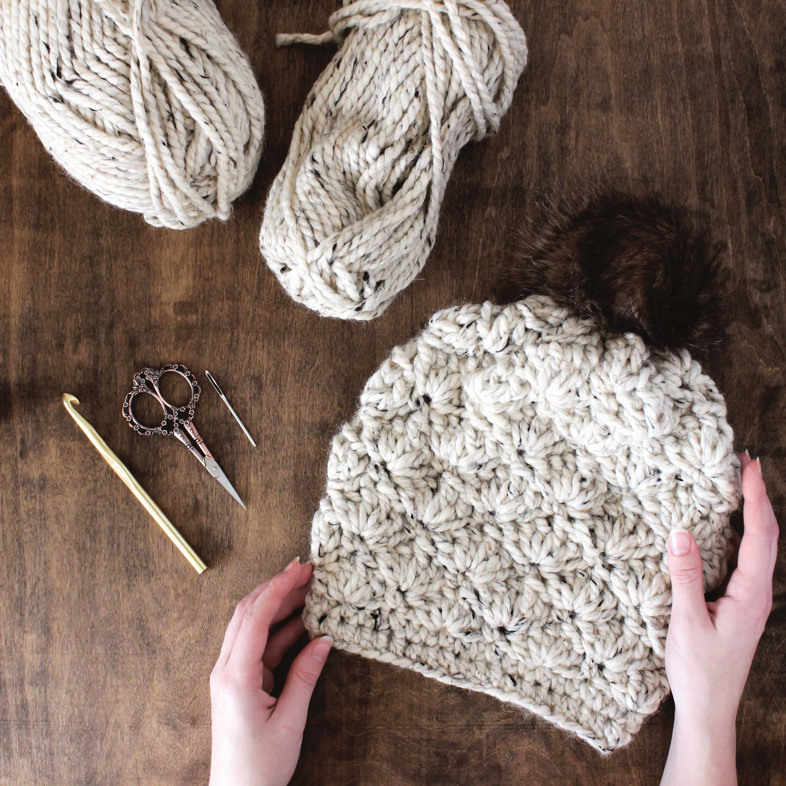 Madison Beanie Crochet Pattern // Beginner Friendly, Step By Step Photo Tutorials Included // Darling Be Brave