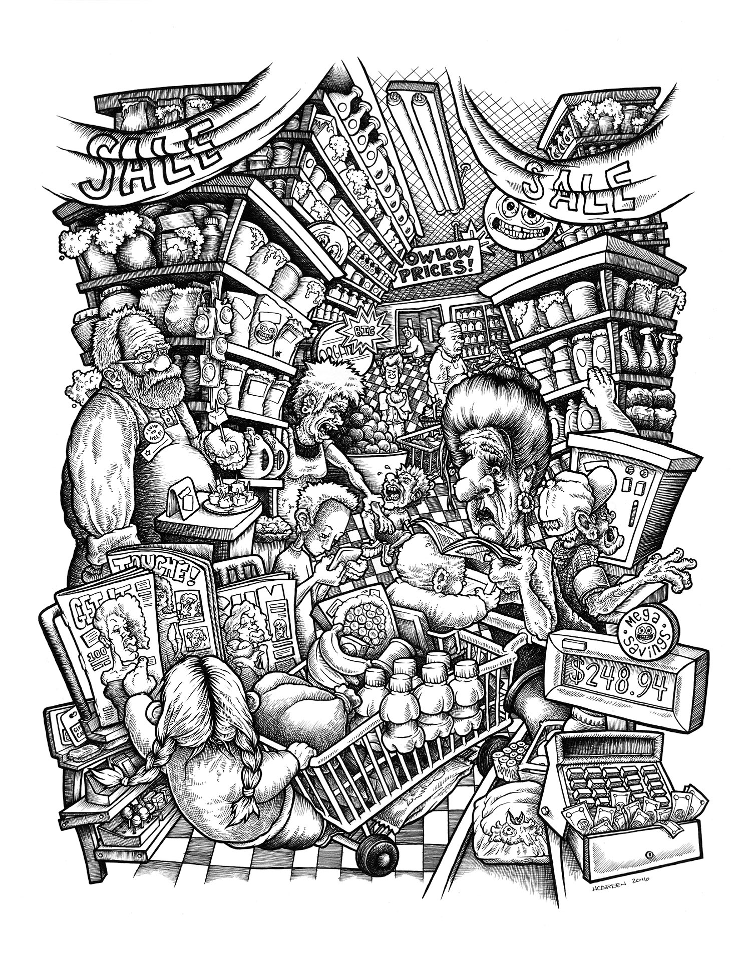 """Grocer, pen & ink on bristol, 11"""" x 14""""   [PRINTS AVAILABLE]"""