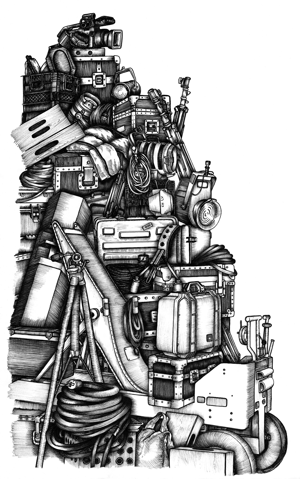 "film equipment, pen & ink on vellum, 13"" x 19""   [BUY THE original drawing]"