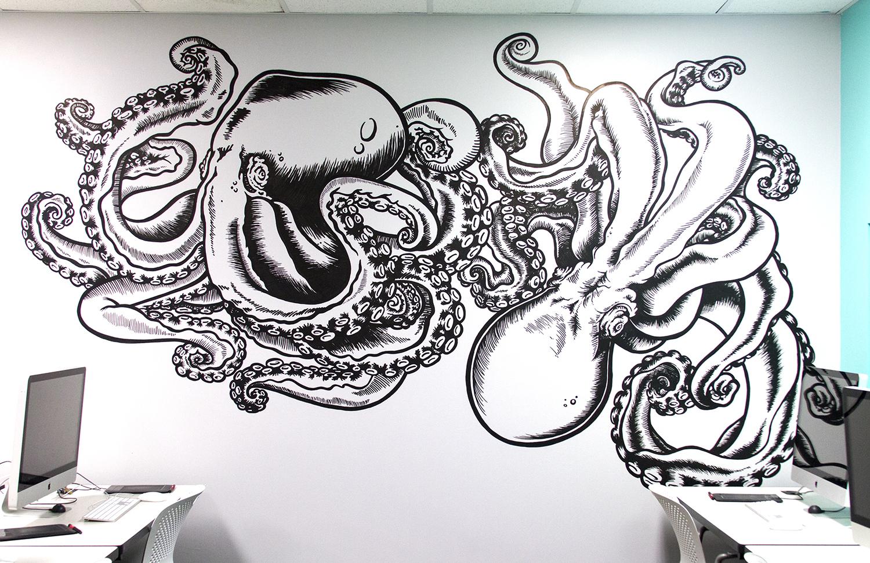 Octopus mural for watkins college of art, design & film