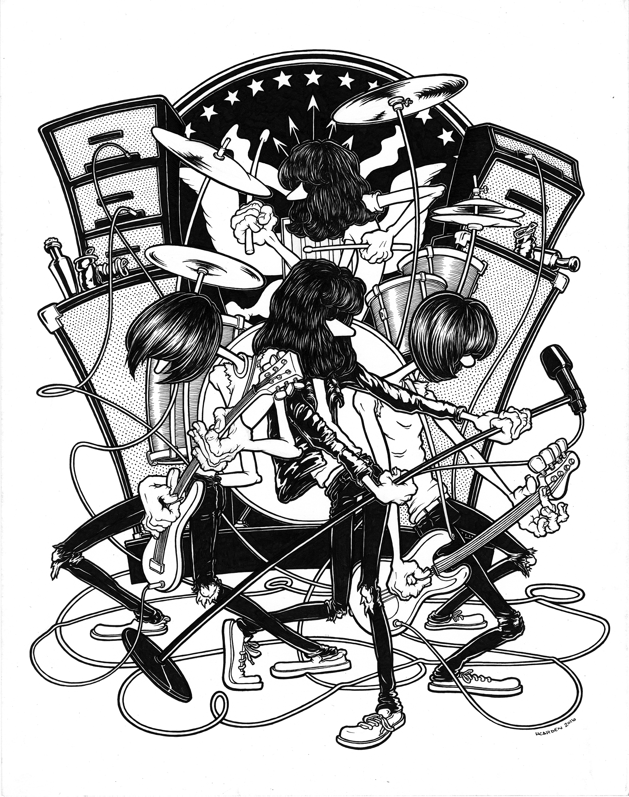 """The Ramones, pen & ink on bristol, 11"""" x 14"""" (Prints Available)"""