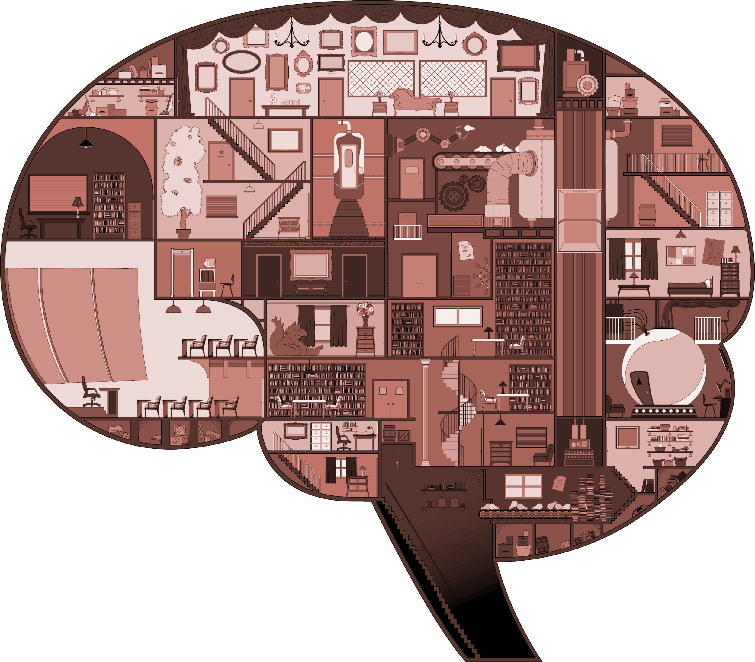 "BRAIN CROSS SECTION FOR BEAU MCCOMBS' AFI FILM ""THE COUNCIL"", vector illustration"