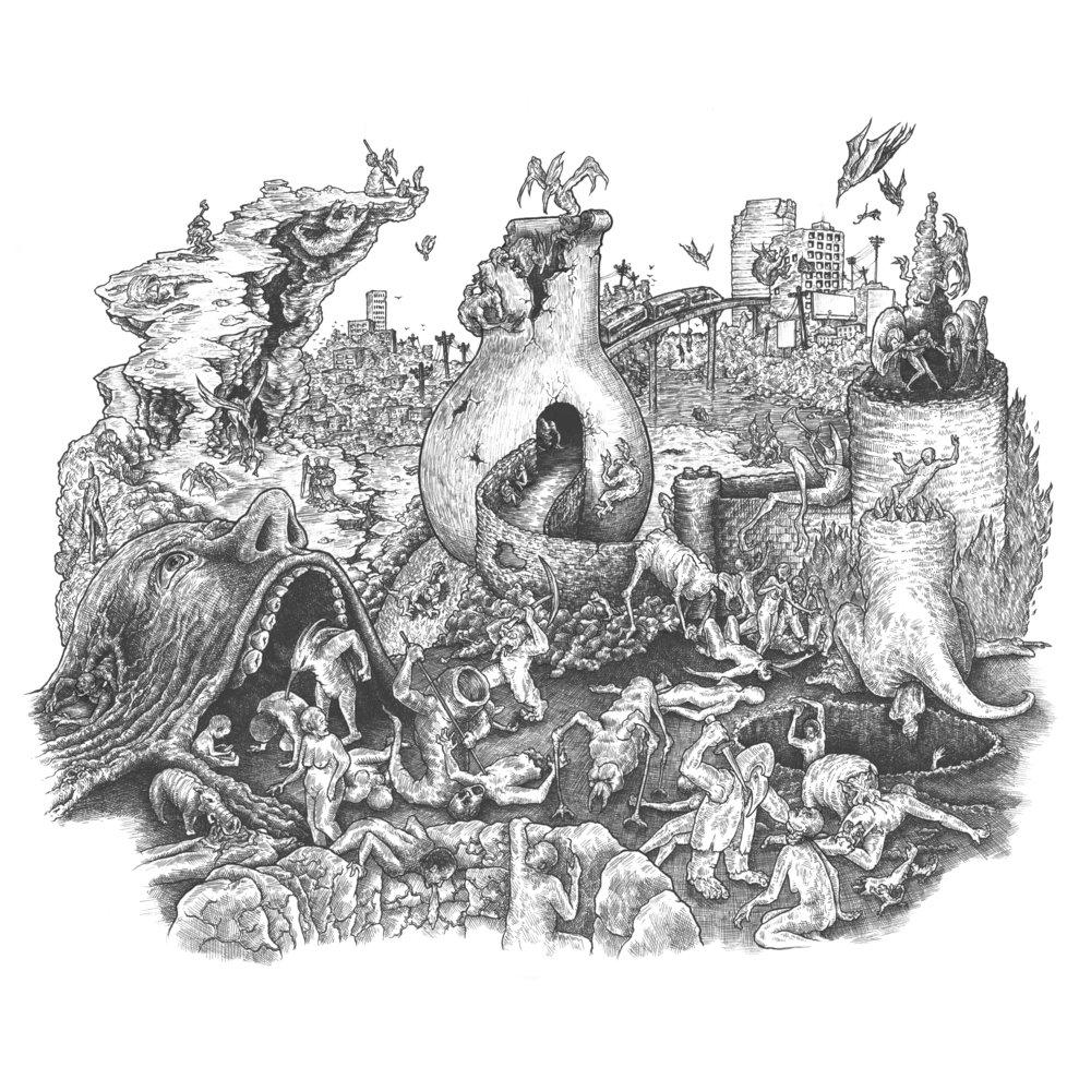 Hellscape Hieronymus Bosch Cover Carden Illustration 2 фразы в 1 тематике. hellscape hieronymus bosch cover carden illustration