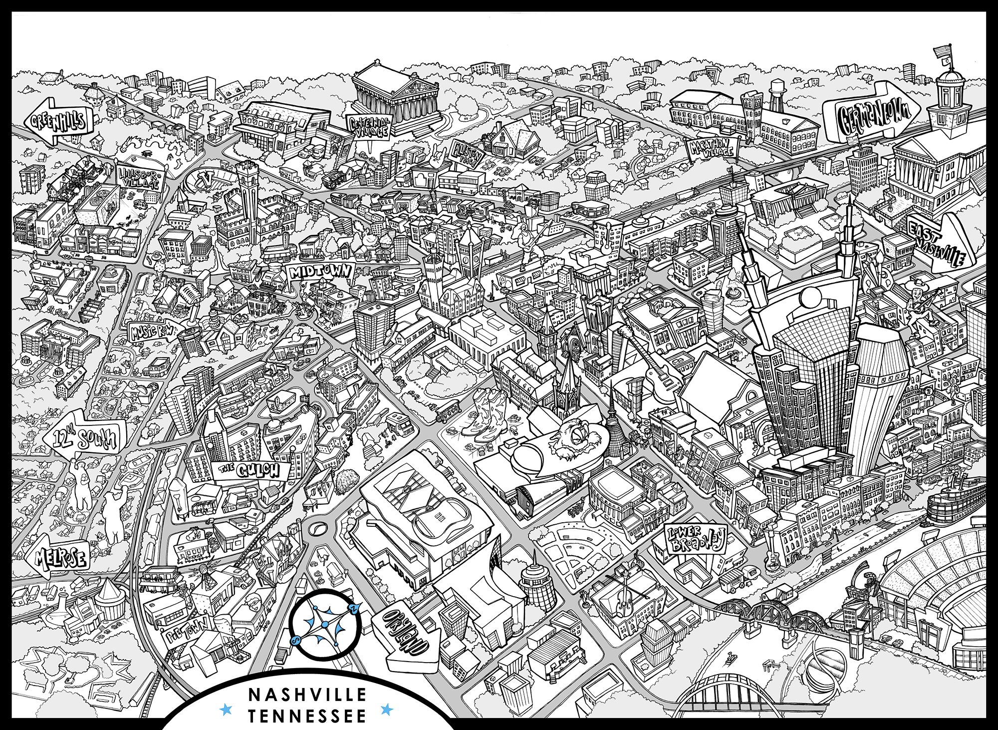 ILLUSTRATED MAP OF NASHVILLE, TN, pen & ink on vellum