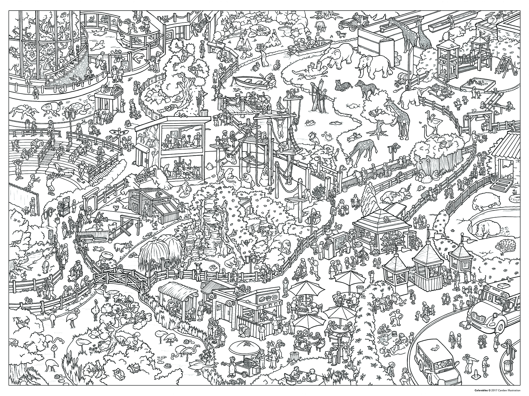 "CARTOON ZOO SEEK-&-FIND, pen & ink on vellum, 22"" x 30""  [ coloring poster available here ]"