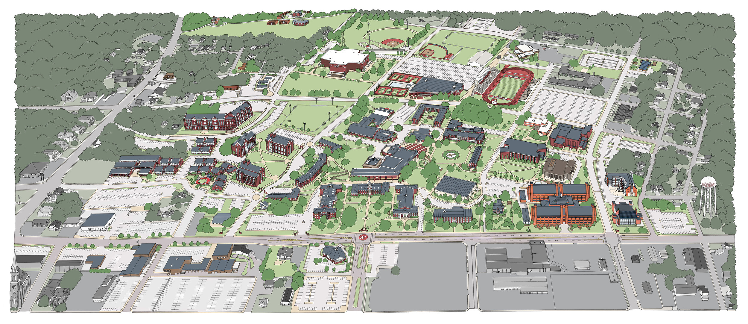 CAMPUS MAP FOR AUSTIN PEAY STATE UNIVERSITY, pen & ink on vellum