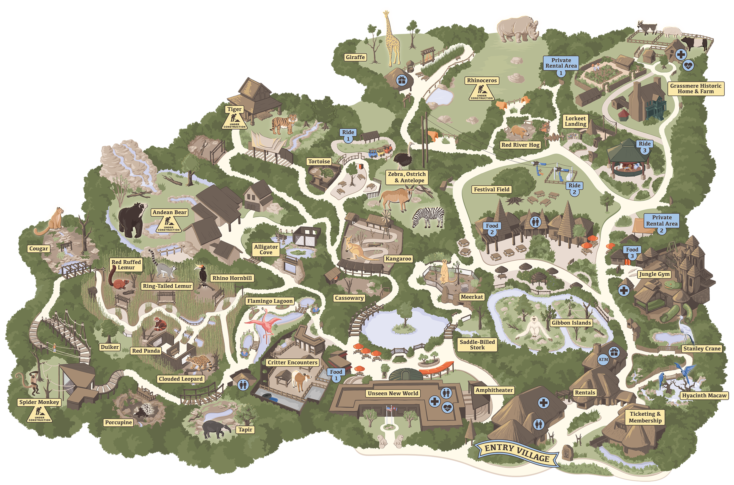 Nashville Zoo Map, Vector Illustration