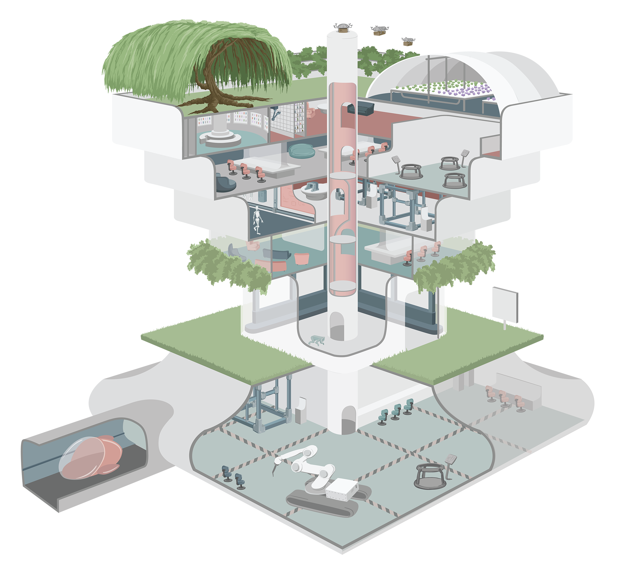 Concept Building from the year 2030 for the Civic I/O Mayors Summit at SXSW, vector illustration