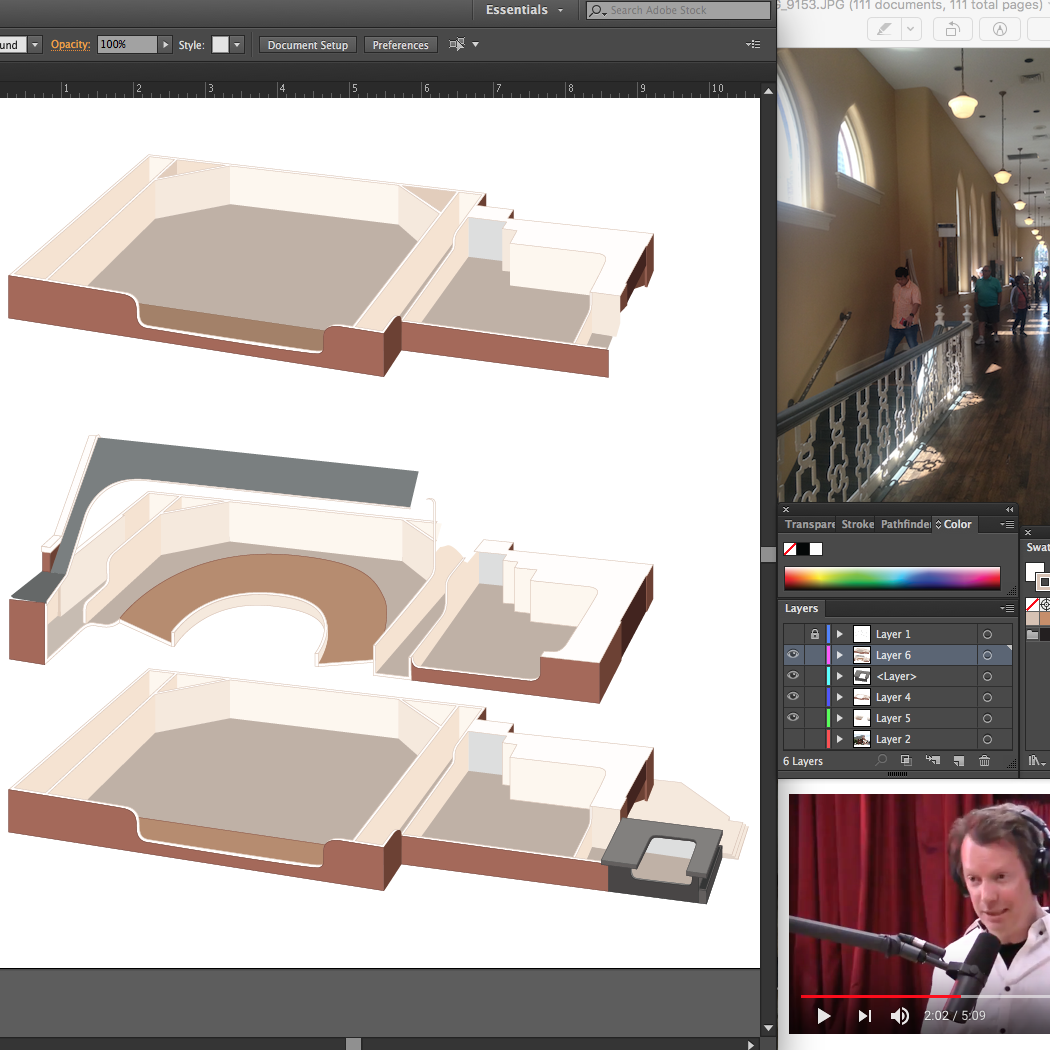 Laying in the basic shapes. That's Sean Carroll on the Joe Rogan Podcast in the corner; such a great episode!