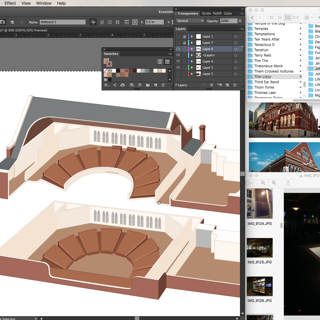 Cross-referencing various images of the Ryman, listening to Thin Lizzy.