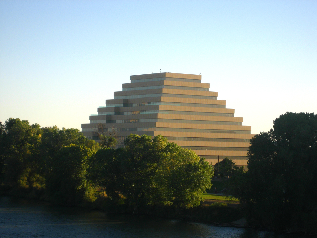 The shape of the building is based on an inversion of the iconic Money Store Headquarters.