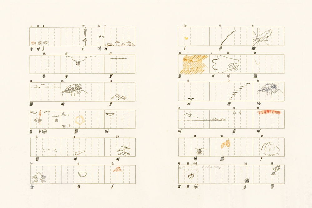 John Cage,  Score Without Parts (40 Drawings by Thoreau): Twelve Haiku , 1978, Color hard ground and soft ground etching with drypoint, engraving, sugar lift aquatint, and photoetching, 22 3/8 x 29 3/4 inches, Edition of 25, AP 5/10. © John Cage Trust at Bard College