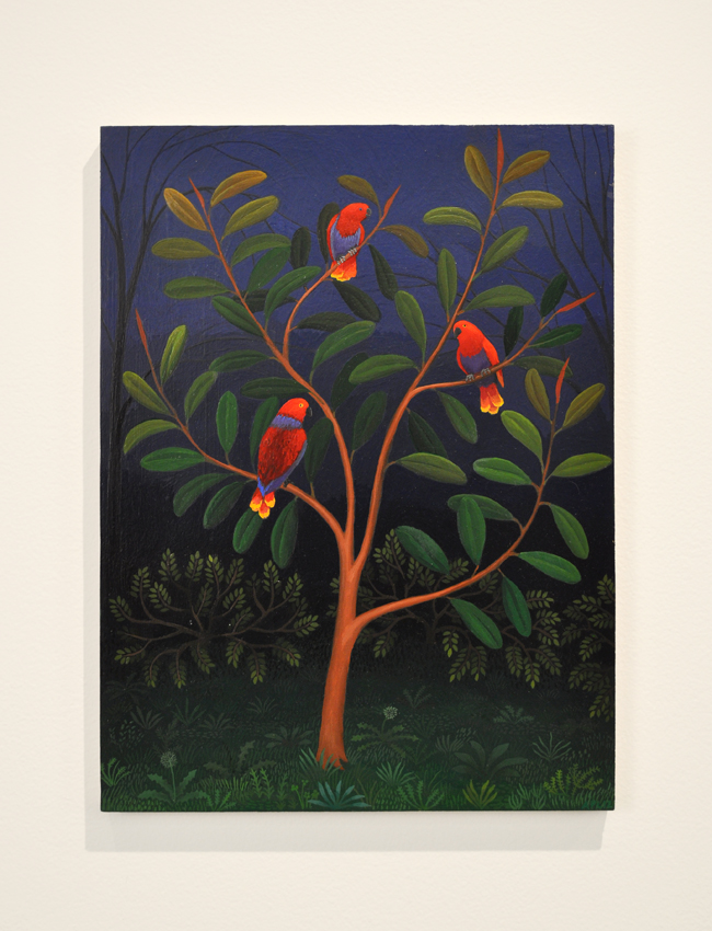 Amy Lincoln,  Three Eclectus Parrots , 2012, Acrylic on panel, 14 x 10 1/2 inches