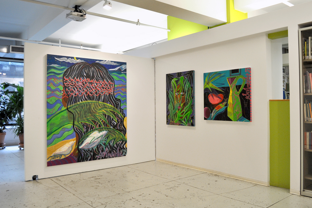 Installation view with three paintings by Ryan Schneider