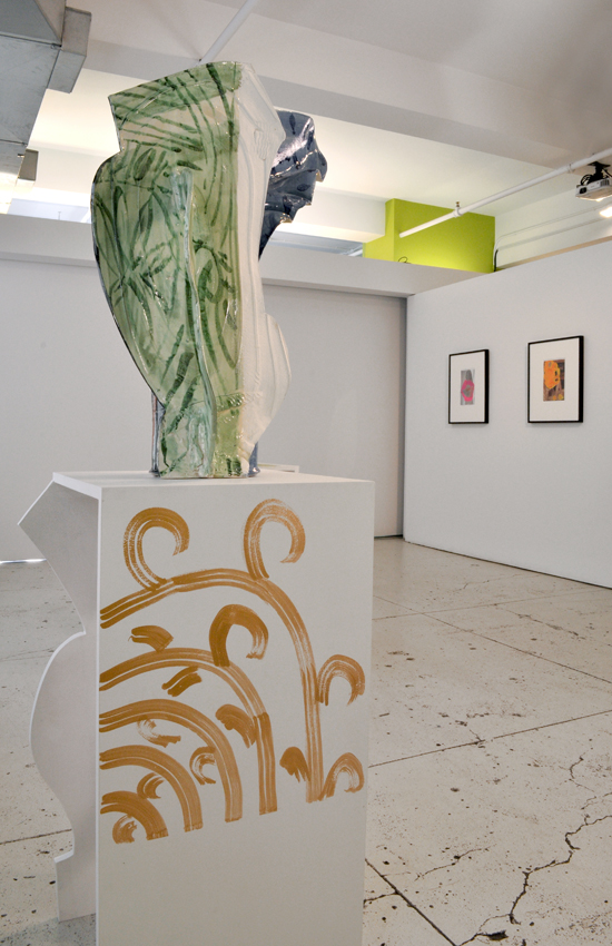 "Installation view of  Vessels  with Betty Woodman's ""Vase Upon Vase: Joy"" (2011) and Beverly Semmes' ""Eye"" and ""Slippers"" (both 2012) from the Feminist Responsibility Project."