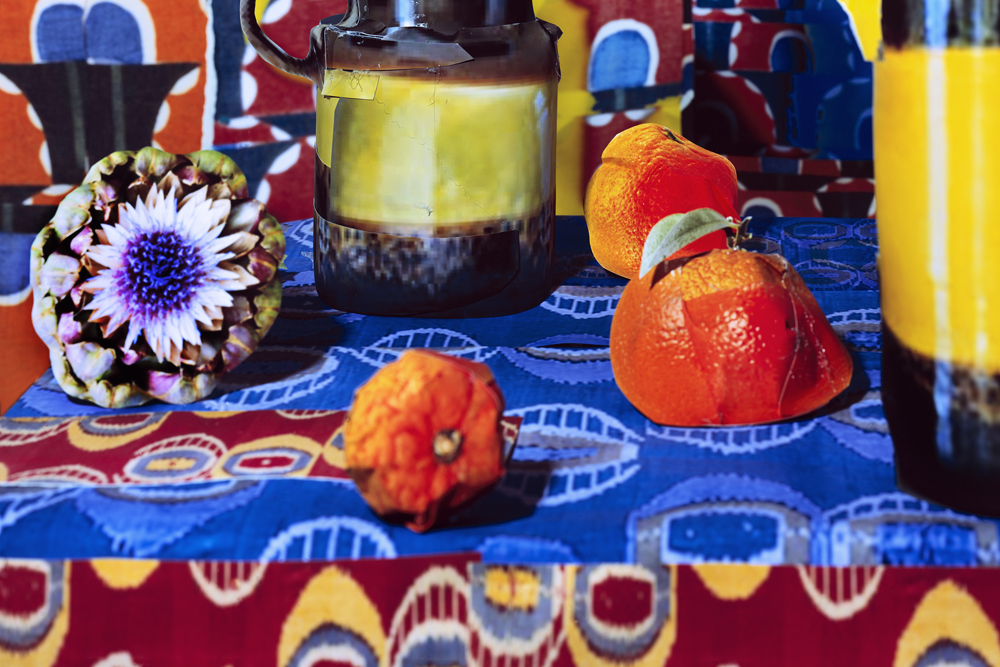 """Detail of Daniel Gordon's  Artichokes and Oranges  (2013) from """"Shadows and Pears."""""""
