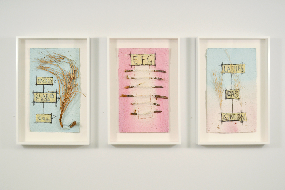 Installation view with Peter Nadin's  Tomato I ,  Ash , and  Mustard II  (all 2012).
