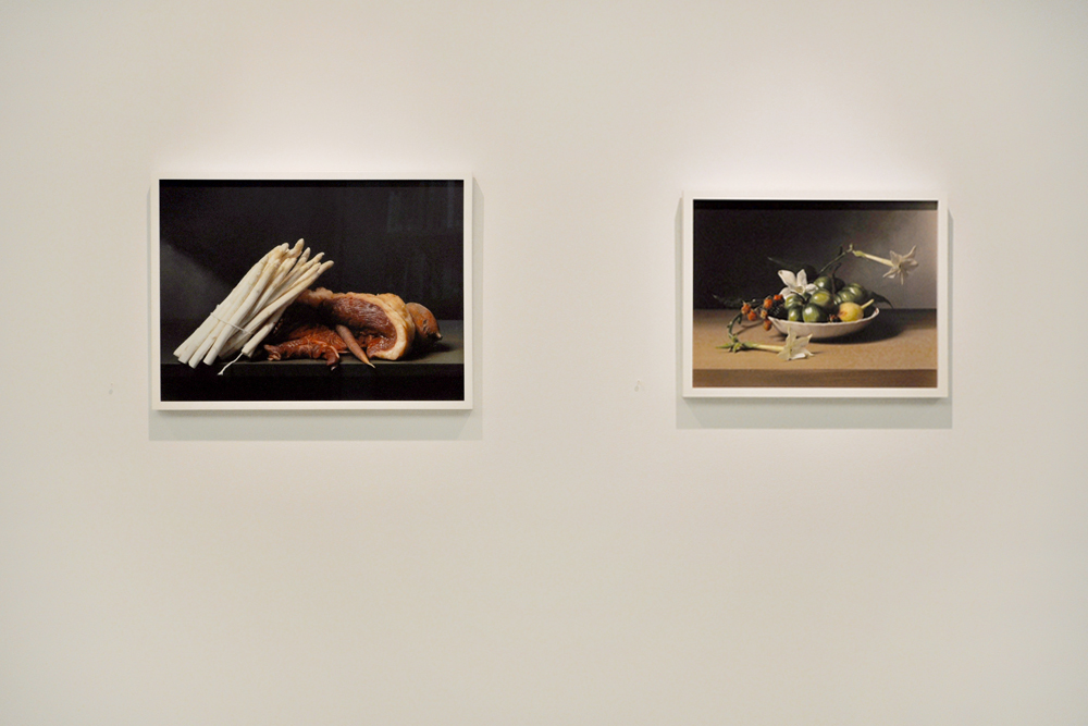 "From Sharon Core's ""Early American"" series:  Still Life with Steak and Asparagus  (2008) and  Still Life with Flowering Tobacco  (2009). Courtesy of Yancey Richardson Gallery, NY."