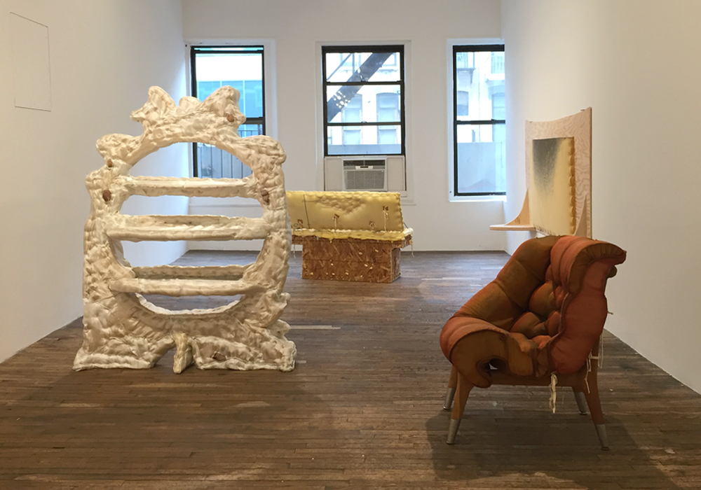 "Top: Installation view with  Muscle Chair (Laying down to talk)  and  Beaver's Lunch (The Uncoverer) , both 2016; Bottom: Installation view, ""Jessi Reaves,"" April 10 – June 5, 2016, Bridget Donahue, NY. (Photos: Chris Murtha)"