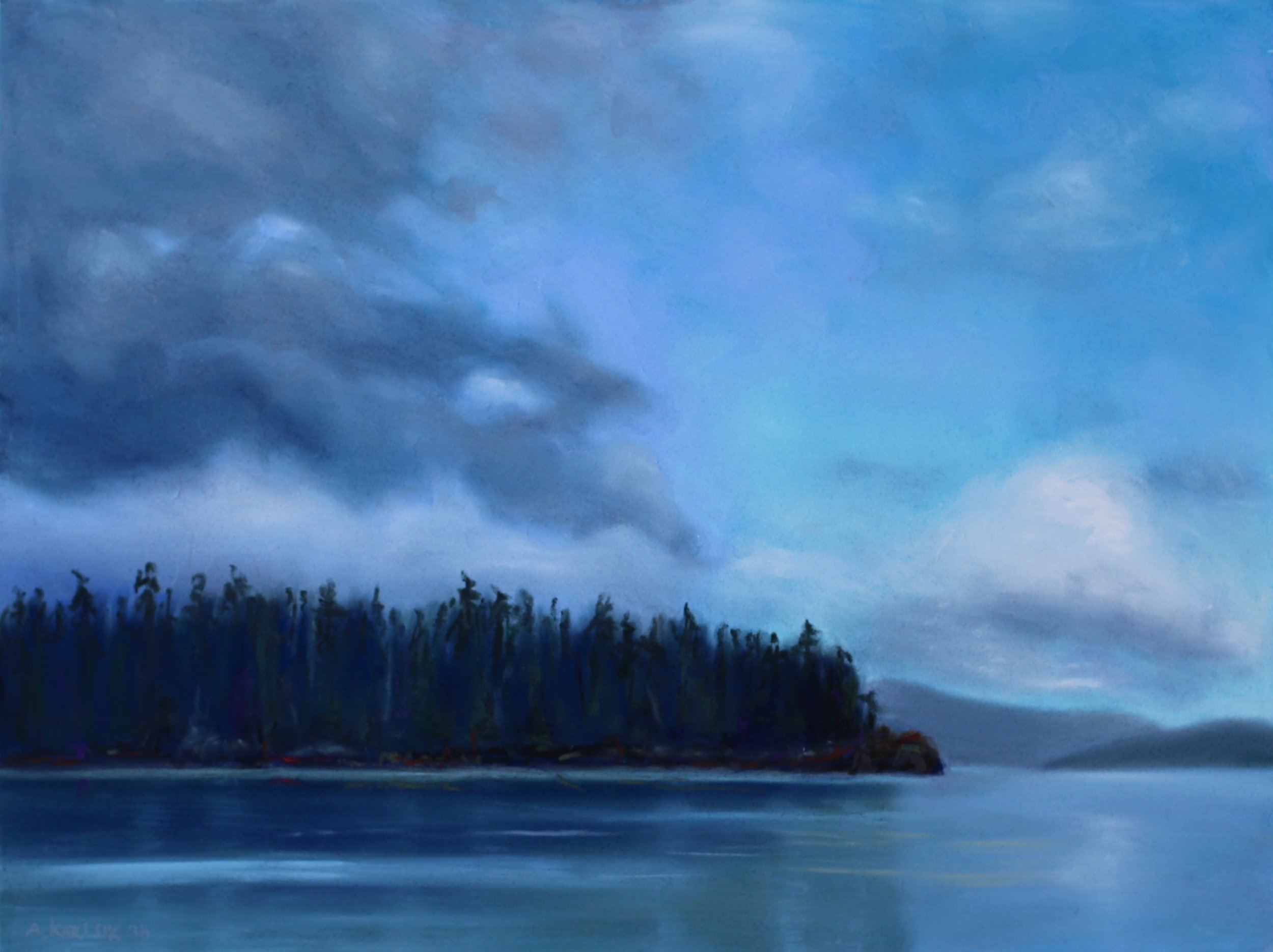 """Calm Crossing, Juan Perez Sound (Gwaii Haanas)"", pastel on board, 12"" x 16""  Sold"