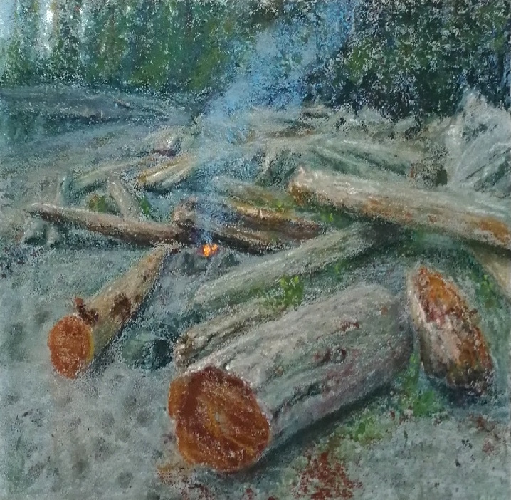 """Anja Karisik, """"Little Fire, Big Beach (Ucluelet, BC)"""", pastel on board, 12"""" x 12""""  • Sold"""