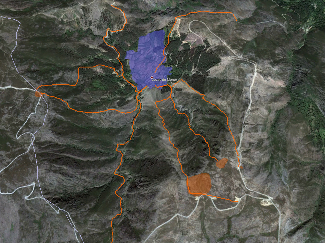 Google maps image indicating various routes to pasture taken by Covas do Monte shepherds