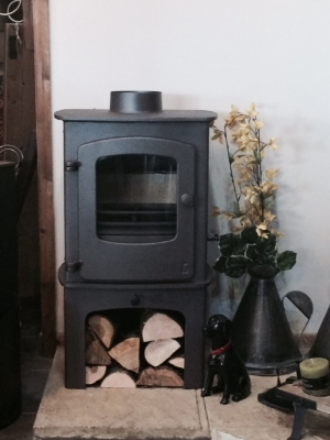 Charnwood Cove 1, with Log Store, brown colour option, as displayed in our showroom