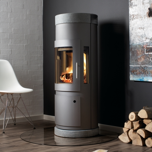 Westfire Uniq 16 with Log Door, Soapstone Top and Base