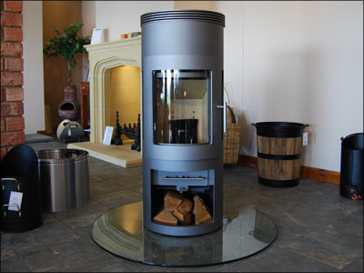 Westfire Uniq 16, Grey, with open Log Store, as displayed in our showroom