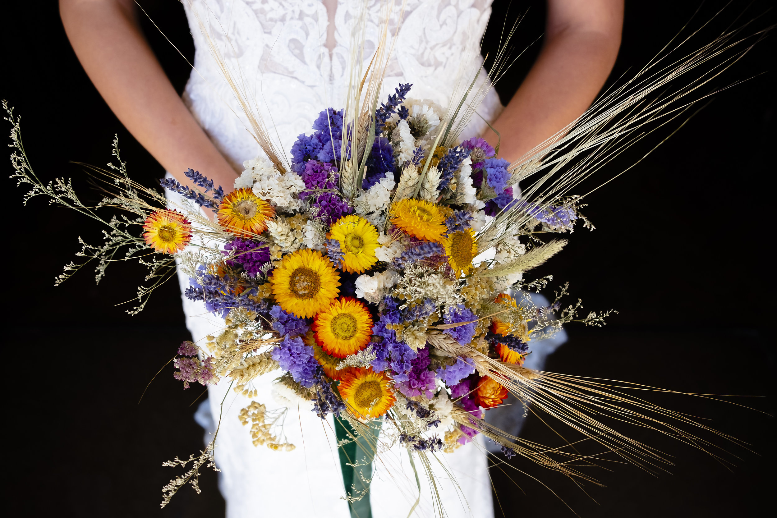 Dried wedding flower bouquet