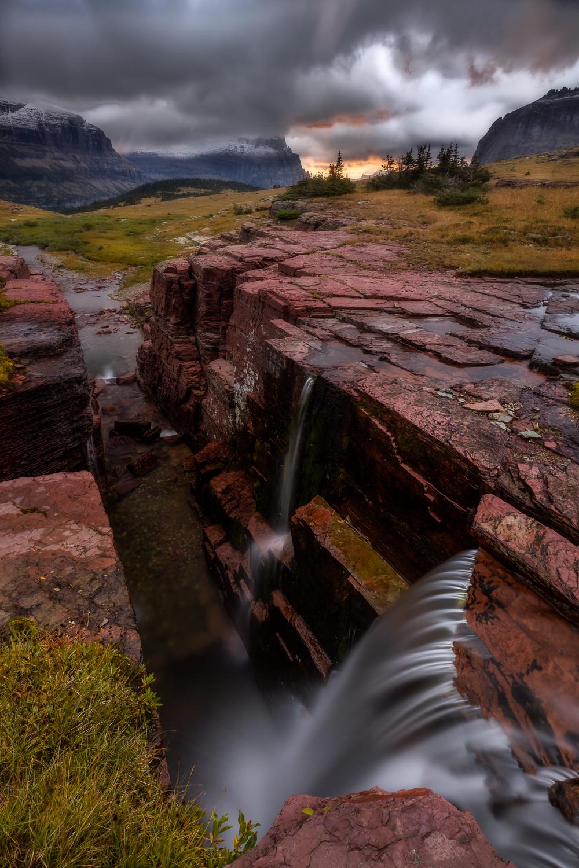 triple falls glacier national park photo
