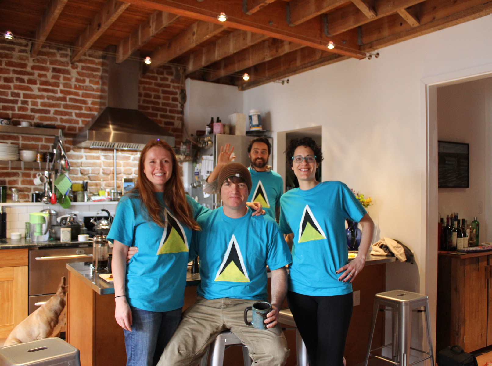 We celebrate St. Lucia's independence day (Feb 22) with tee-shirts and breakfast with friends.