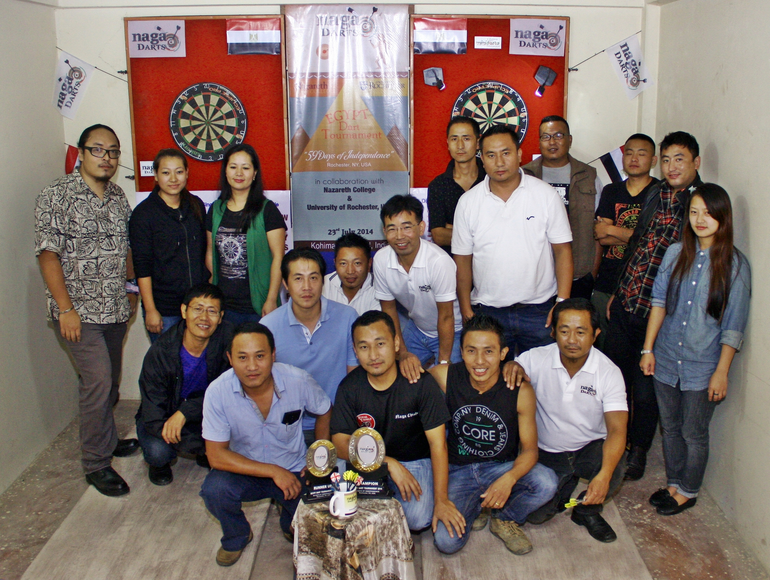 "Lima Longchar and friends host the ""Egypt Independence Day Dart Tournament"" in Nagaland, India, on Egypt's independence day (July 23)."