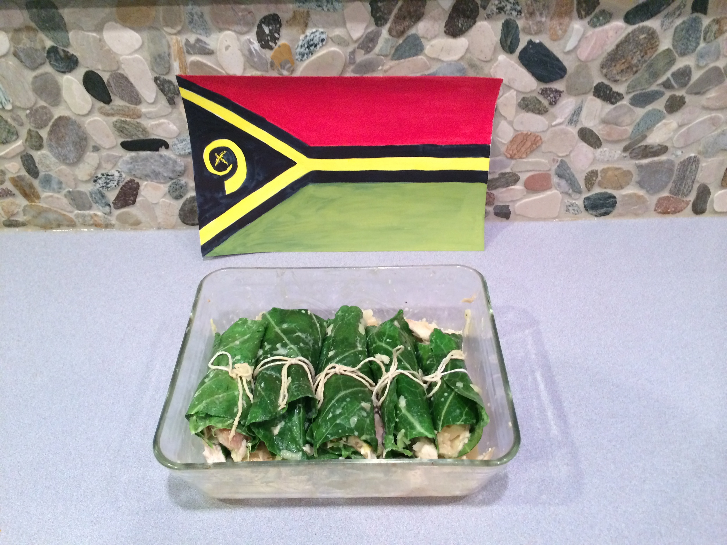 "Heather attempted to make ""lap lap"",  the national dish of Vanuatu, at her home in Rochester, NY (USA) on Vanuatu's independence day (July 30)."