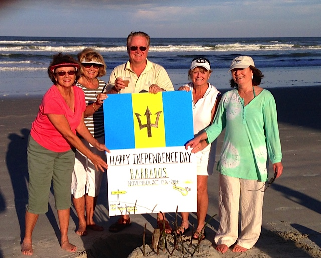 The Layton family celebrates the independence day of Barbados (Nov 30) on the beach in Florida (USA).