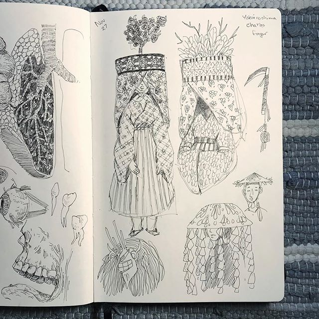 Starting to thrive again with all these studies. One of my favourite photographers is Charles Fréger. He has such an amazing series that catalogues folk costumes. These are based on Sasarasuri costumes from the book Yokainoshima. _________________ #illustration #pensketch #sketchbook #drawing #artstudy #reference #folkcostume #japanesefolkcostume #costume #hidden #instaartist #artistoninstagram #yegartist #canadianartist