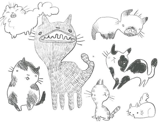 Working with digital again. I drew warped kitters.  _________________ #illustration #digitalart #cats #drawing #procreate #yegartist #canadianartist #instaartist #artistoninstagram