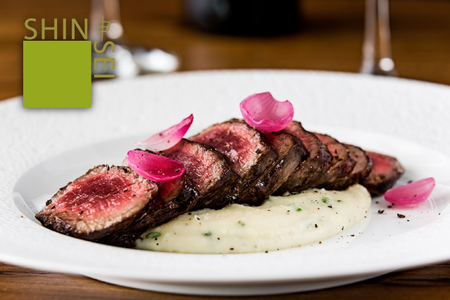 Shinsei Restaurant   Citrus Marinated Beef Tenderloin, poached red onion and creamy scallion whipped potatoes