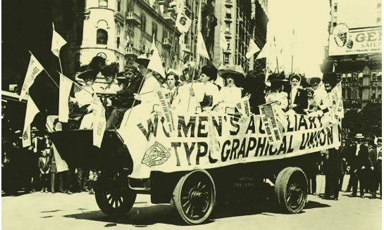 After the first celebration in New York City, other localities began to pick up the idea for a fall festival of parades and picnics celebrating workers. Here, the Women's Auxiliary Typographical Union takes part in a Labor Day parade (undated).