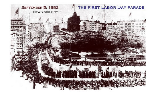 """An illustration of the first Labor Day parade, held on Sept. 5, 1882, in New York City. The holiday was organized by the Central Labor Union to exhibit """"the strength and esprit de corps of the trade and labor organizations"""" of the community, and to host a festival for the workers and their families."""