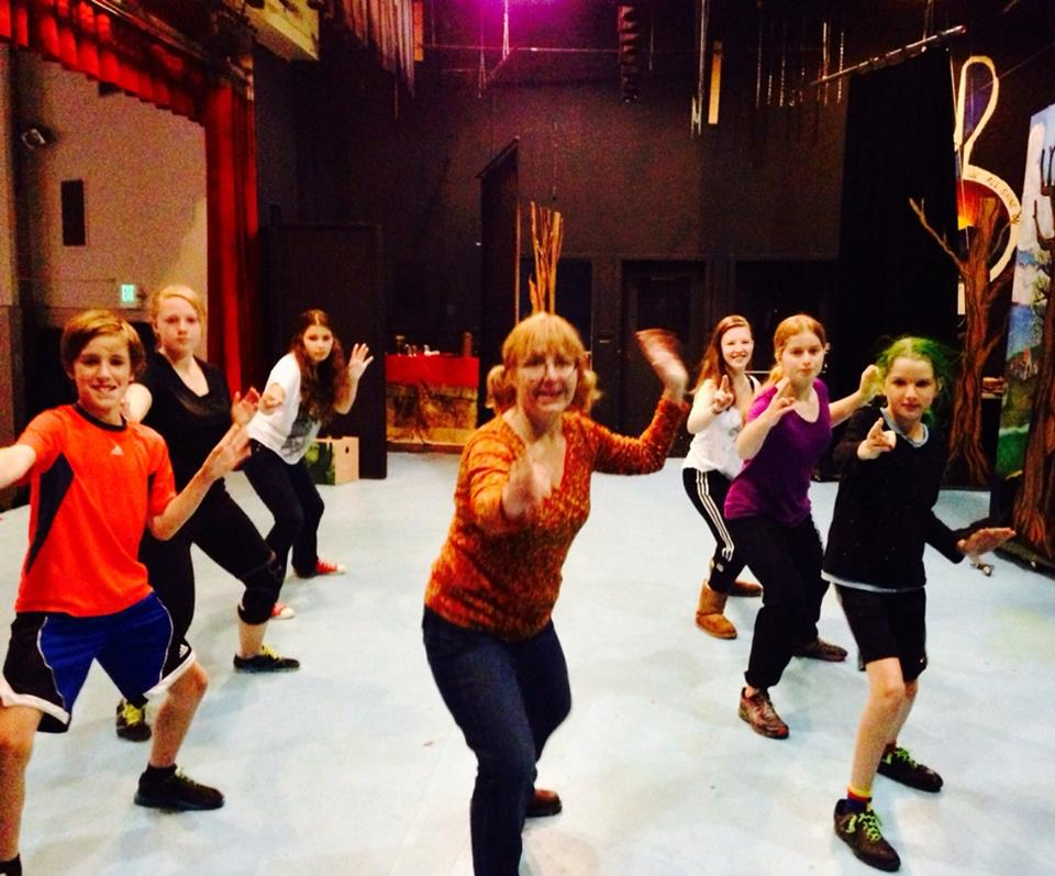 ISF Artistic Director Rose Woods teaches stage combat to WCT cast of Puss in Boots, June 2014