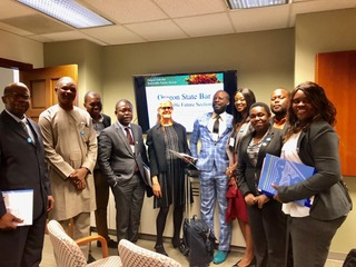 World Oregon hosted professionals from eight African countries and visited Henkels Law LLC to discuss renewable energy, recycling, sustainability, and interdisciplinary collaboration with the OSB Sustainable Future Section. November 2018.