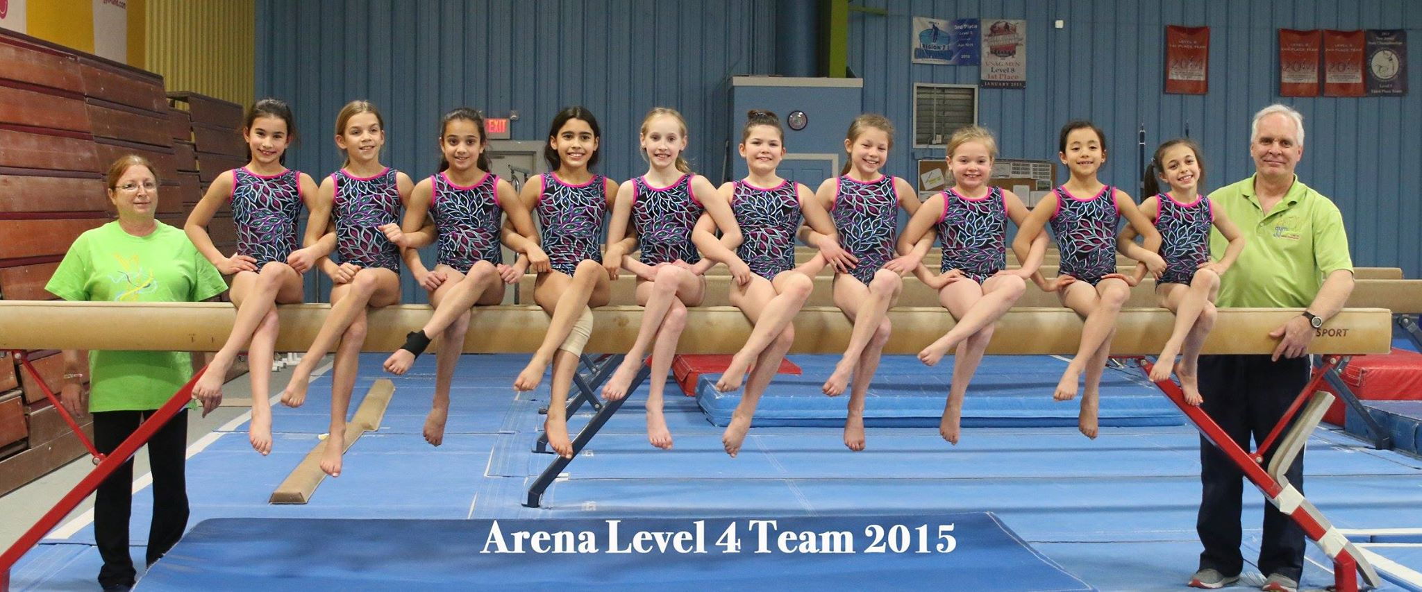 Arena's 2015 Level 4 Team Members with Coaches - Ms. Mary Ann Hawk & Mr. Rick Logue