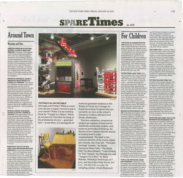 TheNew York Times    featured Design for Social Innovation's art exhibition, Putting it All on the Table, as a must-see show.