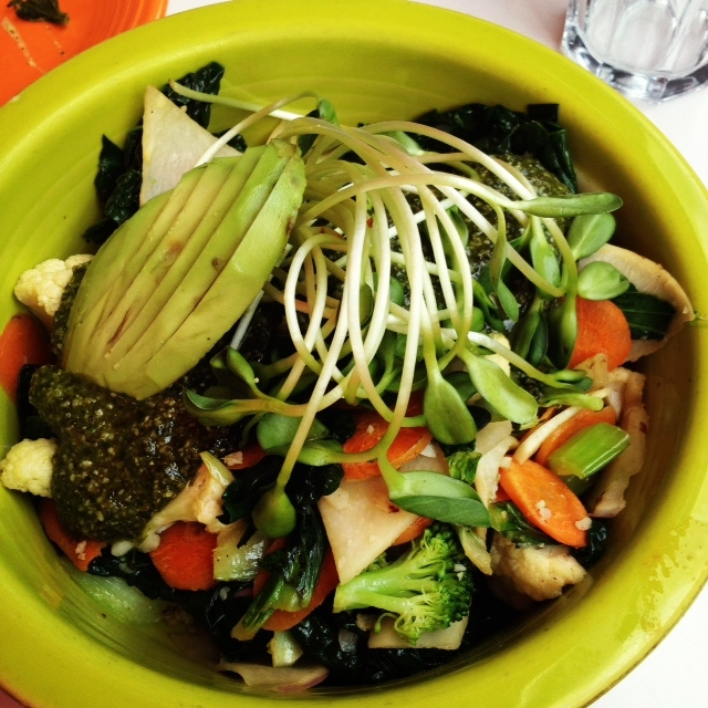 Macrobiotic bowl at Cafe Gratitude, one of my favorite vegan restaurants.