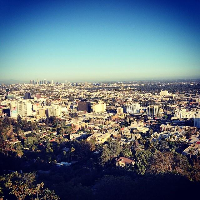 Looking out into Hollywood from Runyon Canyon hiking trail.