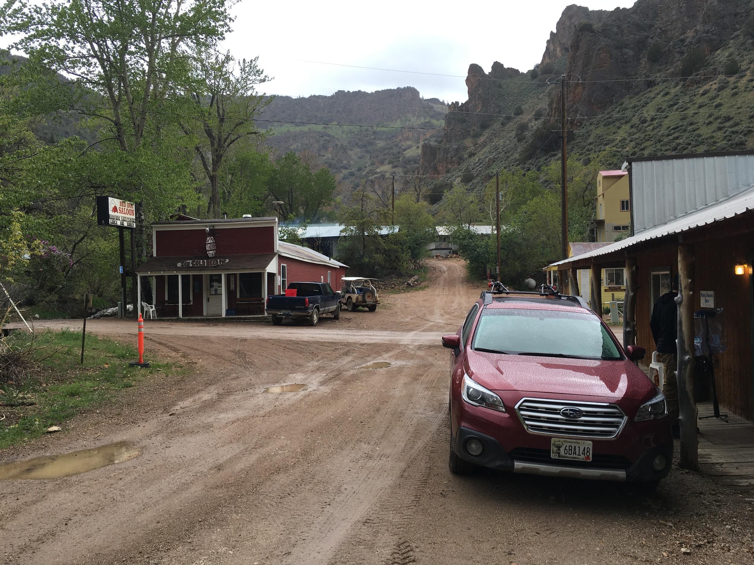 Unloading the Subaru in Jarbidge, Nevada