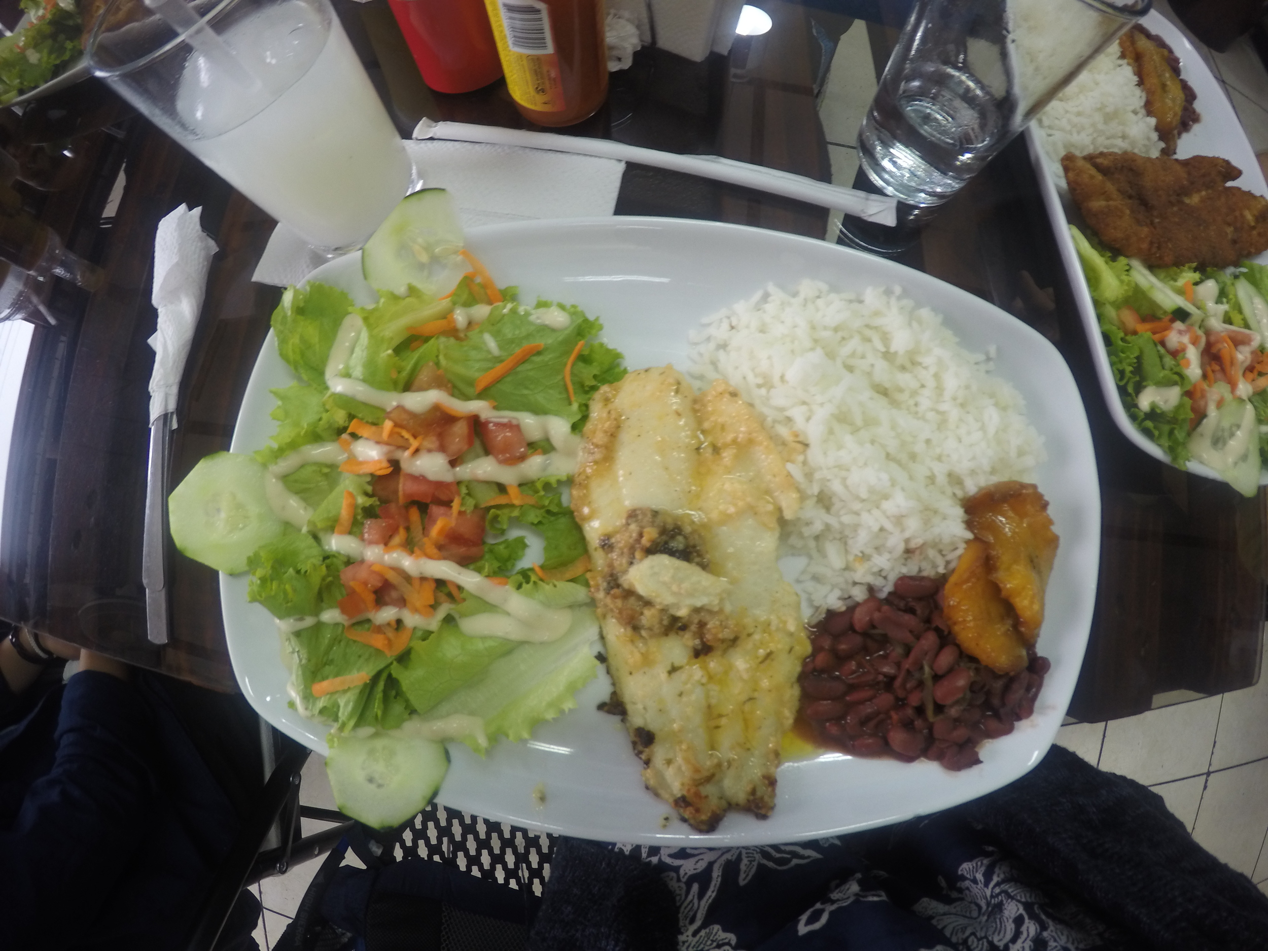 Lunch and guanabana drink