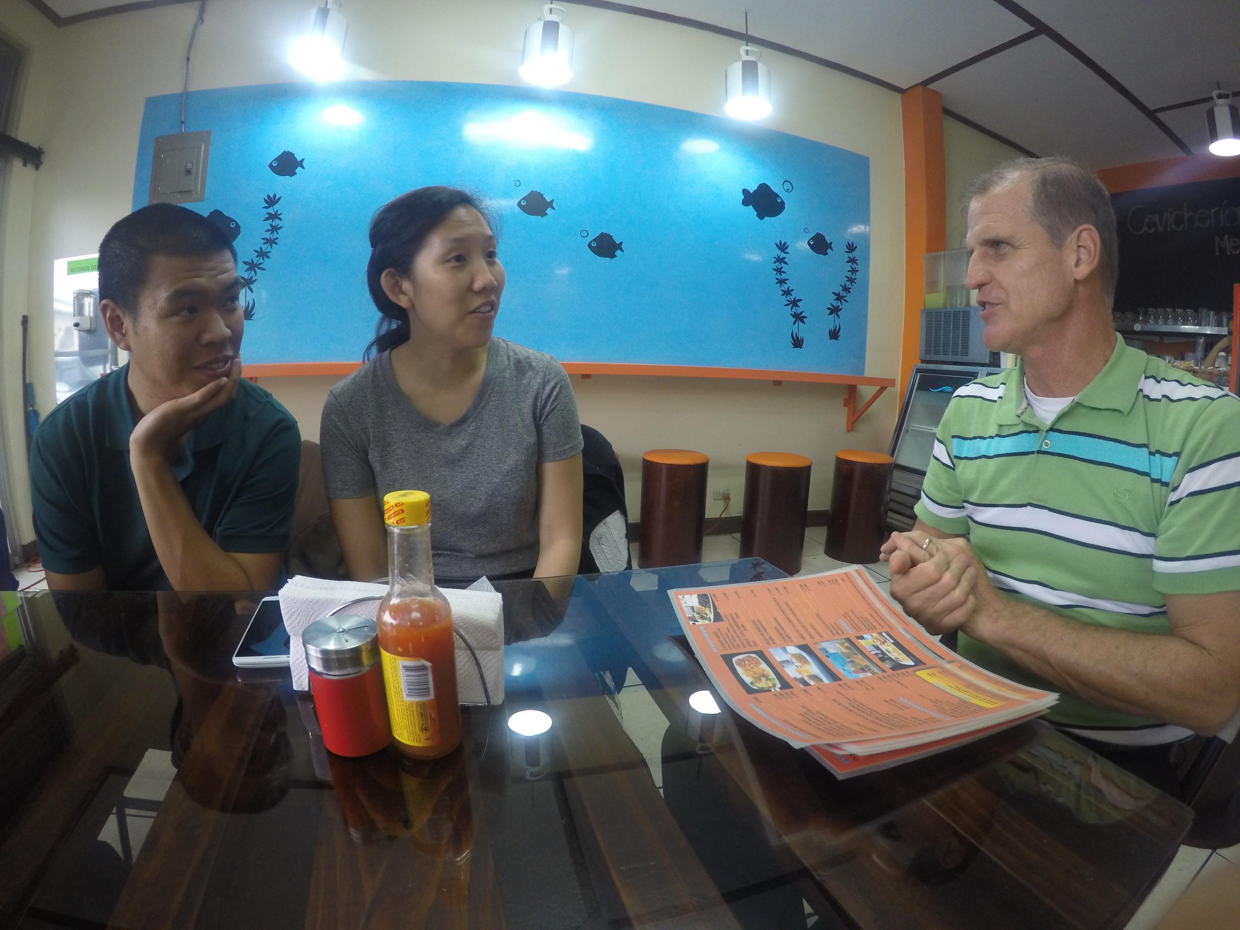 Brandon and Melissa Yu talking with Gary